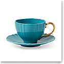 Lenox Sprig And Vine Dinnerware Tea Cup Saucer Turquoise