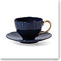 Lenox Sprig And Vine Dinnerware Tea Cup Saucer Navy