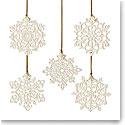 Lenox China 2021 Snow Fantasies 5 Piece Snowflake Ornament Set
