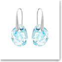 Swarovski Light Azore Blue Galet and Rhodium Pierced Earrings