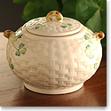 Belleek China Shamrock Sugar Bowl