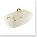 Belleek China Shamrock Covered Butter Dish