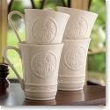 Belleek China Irish Craft Mugs, Set of Four