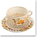 Belleek Autumn Harvest Cup and Saucer Basket