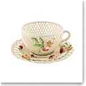 Belleek Summer Strawberry Cup and Saucer Basket