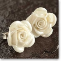 Belleek China Rose Pierced Earrings, Mother of Pearl