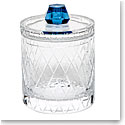 "Moser Crystal Bonbon Canister 8.5"" Wedge Cuts - Clear and Aqua"
