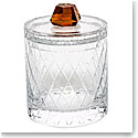 "Moser Crystal Bonbon Canister 8.5"" Wedge Cuts - Clear and Topaz"
