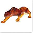Daum Amber Panther Small Sculpture