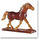 Daum Brown Trotter Horse by Jean-Francois Leroy Sculpture