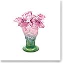 Daum Medium Rose Vase in Green and Pink