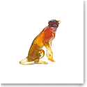 Daum Amber Cheetah by Jean-Francois Leroy, Limited Edition Sculpture