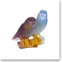 Daum Amber Budgerigars Bird Couple Sculpture