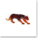 Daum Amber Panther Large Sculpture