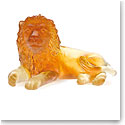 Daum Mini Lion in Amber Sculpture