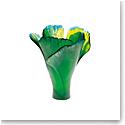 Daum Large Ginkgo Vase in Green
