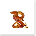 Daum Figure Eight Dragon in Dark Amber Sculpture