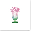 Daum Small Roses Vase in Green and Pink