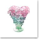 Daum Large Rose Vase in Green and Pink