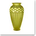 Daum Large Rhythms Vase in Olive Green