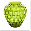 Daum Rhythms Vase in Olive Green