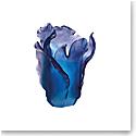 Daum Large Tulip Vase in Blue
