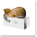 Daum Amber and Grey Cat Sculpture