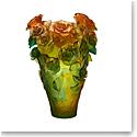 Daum Magnum Rose Passion Vase in Green and Orange, Limited Edition
