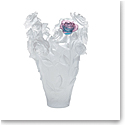 Daum Magnum Rose Passion Vase in White with Green and Pink Flower, Limited Edition