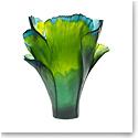 Daum Magnum Ginkgo Vase in Green, Limited Edition