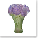 Daum Peony Vase in Green and Purple