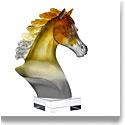 Daum Arabian Horse Head in Amber and Grey Sculpture