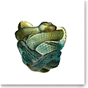 Daum Snake Vase in Green and Grey 8, Limited Edition