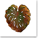 Daum Small Long-Fixture Monstera Wall Leaf in Amber and Green by Emilio Robba, Sconce