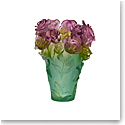 Daum Rose Passion Vase in Green and Pink