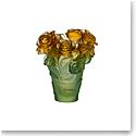 Daum Small Rose Passion Vase in Green and Orange