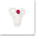 Daum Small Rose Passion Vase in White with Red Flower