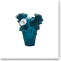 Daum Small Rose Passion Vase in Blue with White Rose