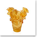 Daum Rose Passion Small Yellow Vase