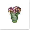 Daum Small Rose Passion Vase in Green and Pink