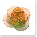 Daum Rose Passion Decorative Flower in Green and Orange