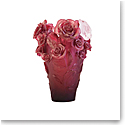 Daum Rose Passion Vase in Red with White Flower, Limited Edition