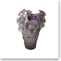 Daum Rose Passion Vase in Grey and Purple, Limited Edition