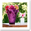 Daum Rose Passion Vase in Red, Violet, and Gilded Flower