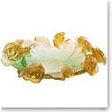 Daum Rose Passion Bowl in Green and Orange