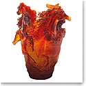 Daum Horse Vase in Amber, Limited Edition