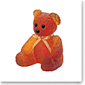 Daum Large Doudours, Teddy Bear in Amber by Serge Mansau, Limited Edition Sculpture