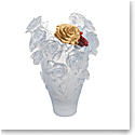 Daum Magnum Rose Passion Vase in White with Red and Gold Flowers, Limited Edition