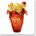 Daum Magnum Horse Vase in Amber and Gold