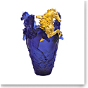 Daum Magnum Horse Vase in Blue and Gold, Limited Edition